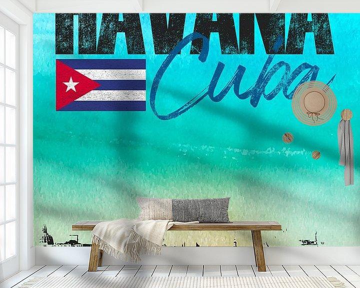 Sfeerimpressie behang: Havana Cuba van Printed Artings