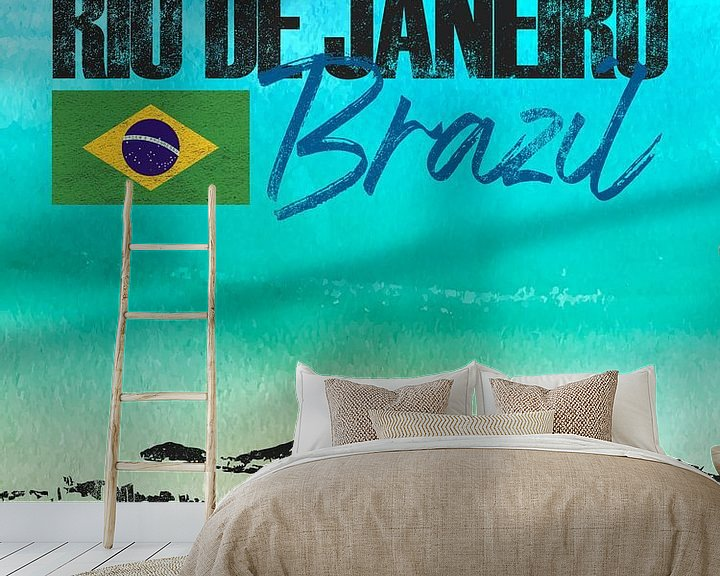 Sfeerimpressie behang: Rio de Janeiro Brazilië van Printed Artings
