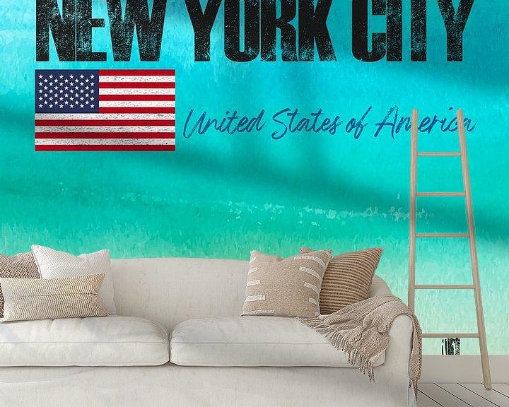 Sfeerimpressie behang: New York City Amerika van Printed Artings