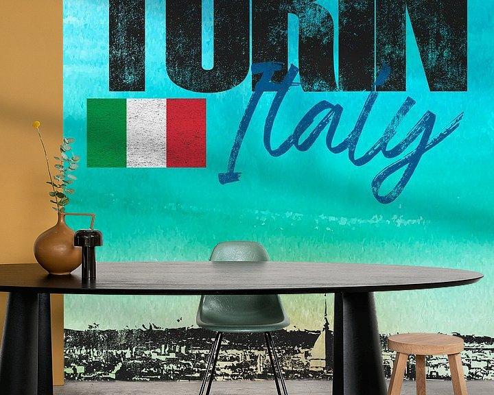Sfeerimpressie behang: Turijn Italië van Printed Artings