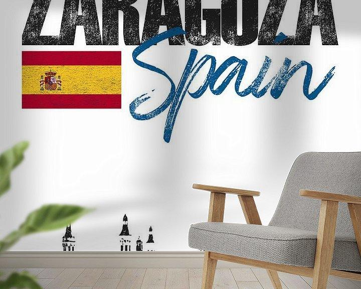 Sfeerimpressie behang: Zaragoza Spanje van Printed Artings