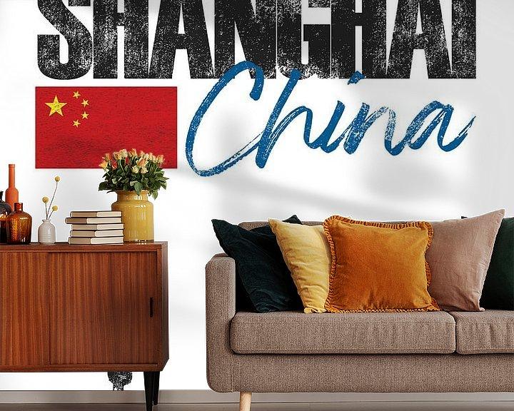 Sfeerimpressie behang: Shanghai China van Printed Artings