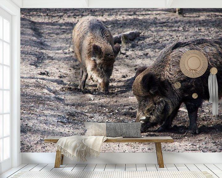 Sfeerimpressie behang: Zwijn van Wouter van Rheenen