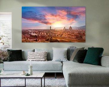 L'horizon de Florence au coucher du soleil sur Remco Piet