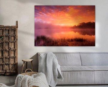 Zonsopgang Lake Harris, Amerika van Frank Peters