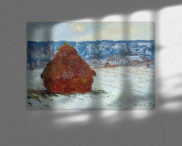Grainstack bei bedecktem Wetter, Schneeeffekt 1891, Claude Monet