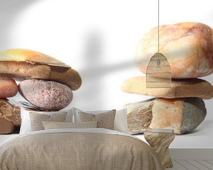 Sfeerimpressie behang: Pebbles, drieluik in vier delen van Wim Zoeteman
