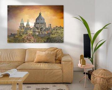 Artwork: Maastricht, Emmaplein, Sint Lambertuskerk