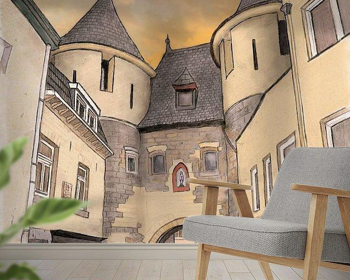 Beispiel fototapete: Kunstwerk: Valkenburg, Das Blocktor von Edo Illustrator