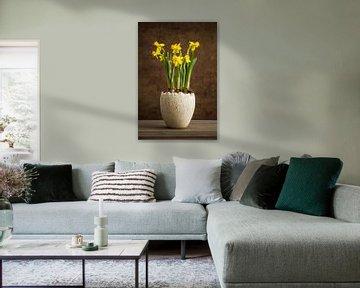 Gelbe Narzissen in einem Topf von Lorena Cirstea