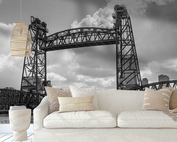 Sfeerimpressie behang: De oude hefbrug in Rotterdam (De Hef) van Arthur Scheltes