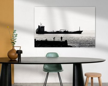 Fischer auf dem Pier bei Vlissingen (Silhouette) von Fotografie Jeronimo