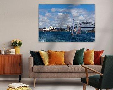 Sydney Skyline mit Opernhaus und Hafenbrücke, Sydney Innenstadt von Tjeerd Kruse