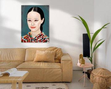 Bleek Japans Meisje In Kimono van Ton van Hummel (Alias HUVANTO)