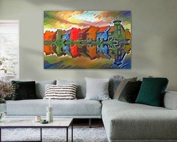Schilderij Groningen Reitdiephaven in de stijl van Kandinsky
