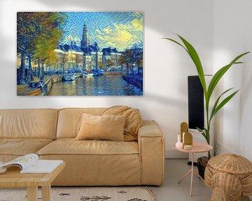 Stijlvol Kunstwerk van Groningen: Hoge Der Aa te Groningen in de stijl van Van Gogh