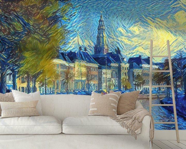 Sfeerimpressie behang: Stijlvol Kunstwerk van Groningen: Hoge Der Aa te Groningen in de stijl van Van Gogh van Slimme Kunst.nl
