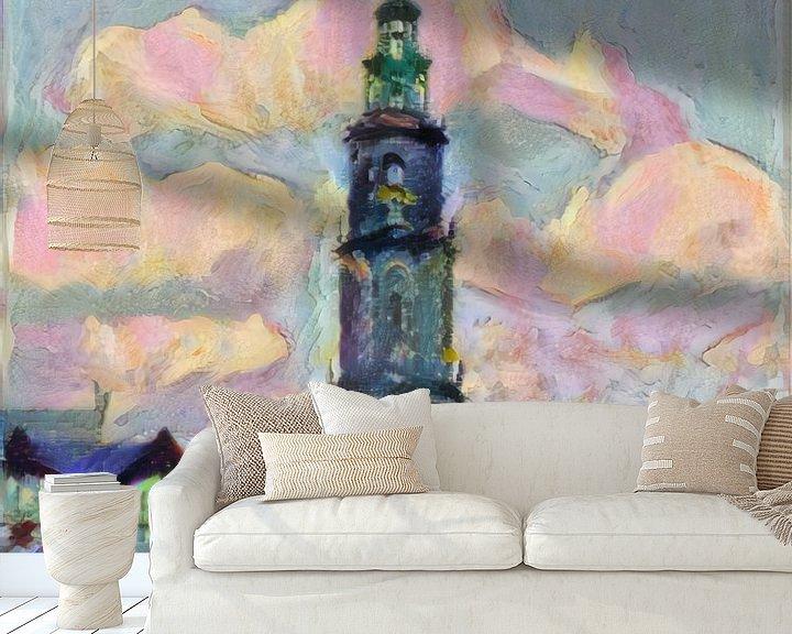 Sfeerimpressie behang: Vrolijk schilderij van de Martinitoren: de skyline van Groningen van Slimme Kunst.nl