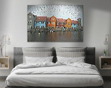 Stijlvol schilderij Groningen: Reitdiephaven in de stijl van Delaunay