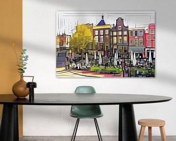 Schilderij Groningen Drie Gezusters op de Grote Markt in de stijl van Mondriaan