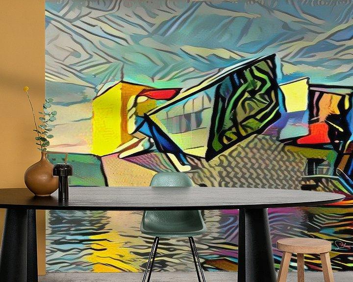 Sfeerimpressie behang: Modern kunstwerk van Groninger Museum in de stijl van Picasso van Slimme Kunst.nl