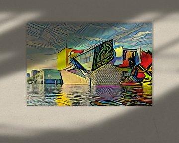 Modern kunstwerk van Groninger Museum in de stijl van Picasso
