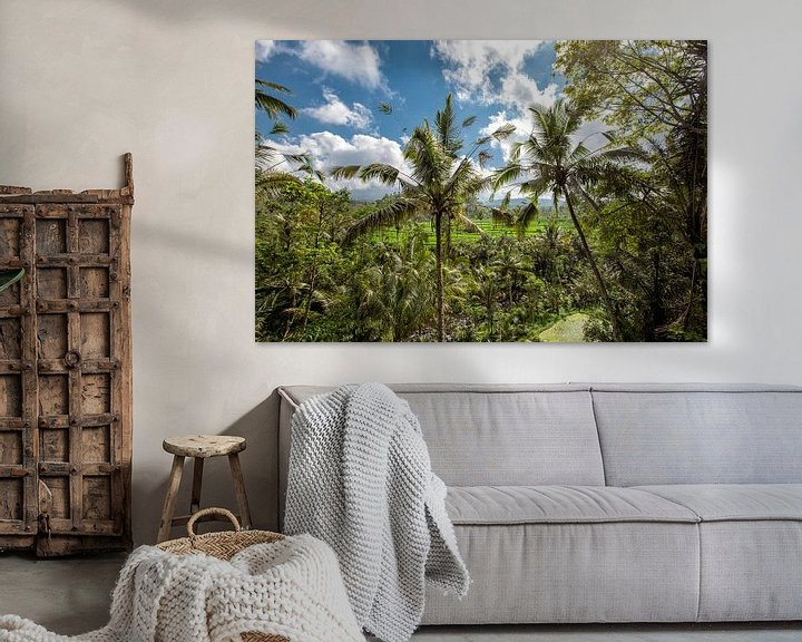Sfeerimpressie: Landschap van jonge water gegeven ricefield met wat kokospalm in het eiland van Bali. van Tjeerd Kruse