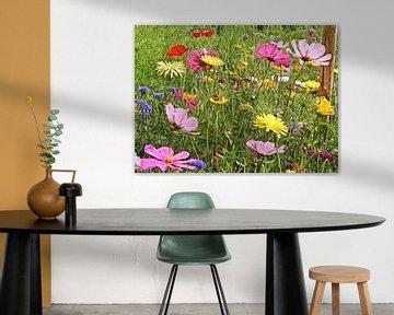 digitale bewerking van een bloemenperk van Joke te Grotenhuis