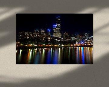Skyline van Melbourne in de avond