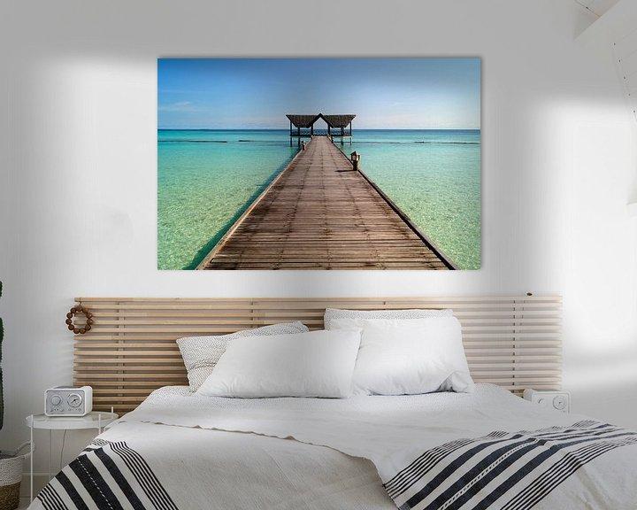 Sfeerimpressie: Strand en pier op de Maldieven van Atelier Liesjes
