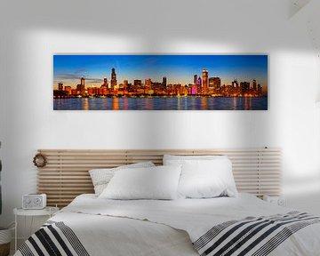 Chicago skyline bij zonsondergang
