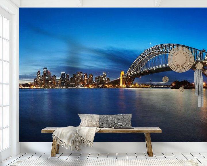 Sfeerimpressie behang: Melbourne, haven, brug en opera house van Atelier Liesjes