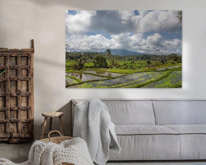 Sfeerimpressie: Munduk, Bali. Aan alle kanten omgeven door dichte junglevegetatie zijn felgroene terrassen om rijst  van Tjeerd Kruse