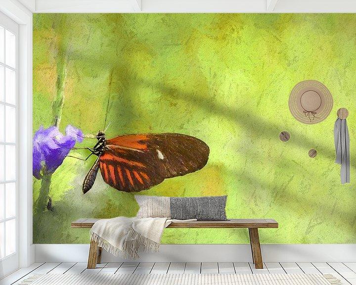 Sfeerimpressie behang: Mooie vlinder op paarse bloem, oliepastel van Rietje Bulthuis
