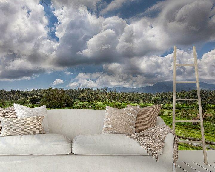 Sfeerimpressie behang: panorama van rijstterrassen in de bergen. Bali. Indonesië van Tjeerd Kruse