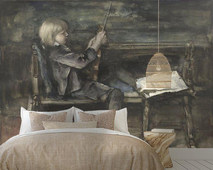 Beispiel fototapete: Porträt von Willem Matthijs Maris, mit Geige, Jacob Maris