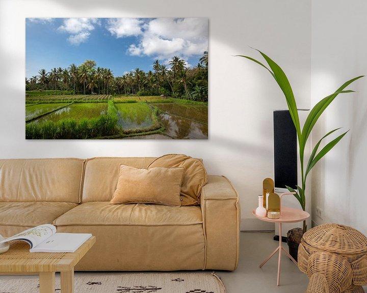 Sfeerimpressie: de zon komt op boven de groene velden van de rijstvelden van Tegalalang in het hart van Bali, Indone van Tjeerd Kruse