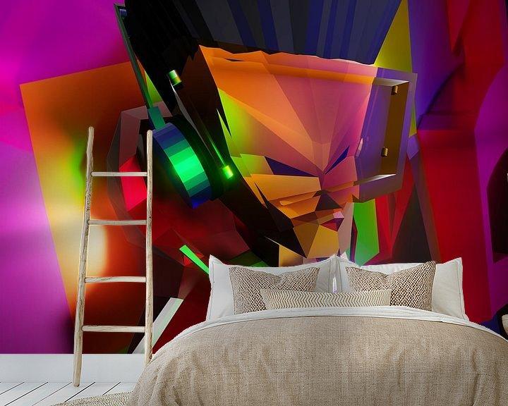 Beispiel fototapete: Hip Hop B-Boy (2019) von Pat Bloom - Moderne 3D, abstracte kubistische en futurisme kunst