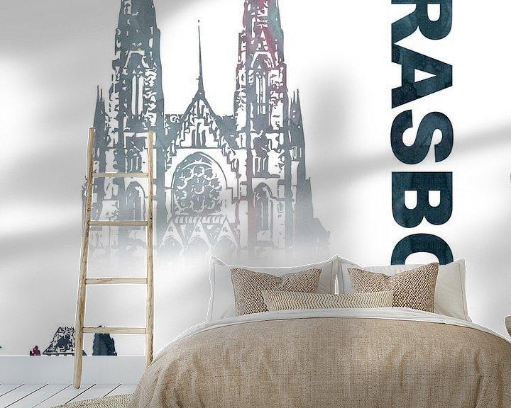 Sfeerimpressie behang: Straatsburg van Printed Artings