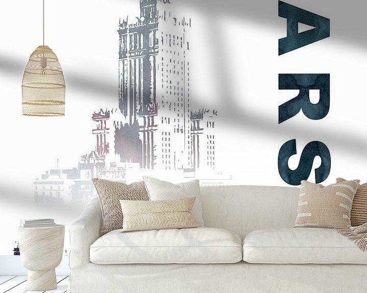 Sfeerimpressie behang: Warschau van Printed Artings