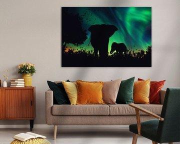 La silhouette d'un éléphant avec sa progéniture sur Bert Hooijer