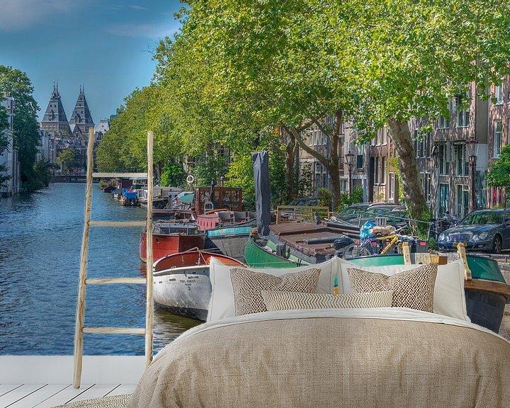 Sfeerimpressie behang: Lijnbaansgracht Amsterdam van Foto Amsterdam/ Peter Bartelings
