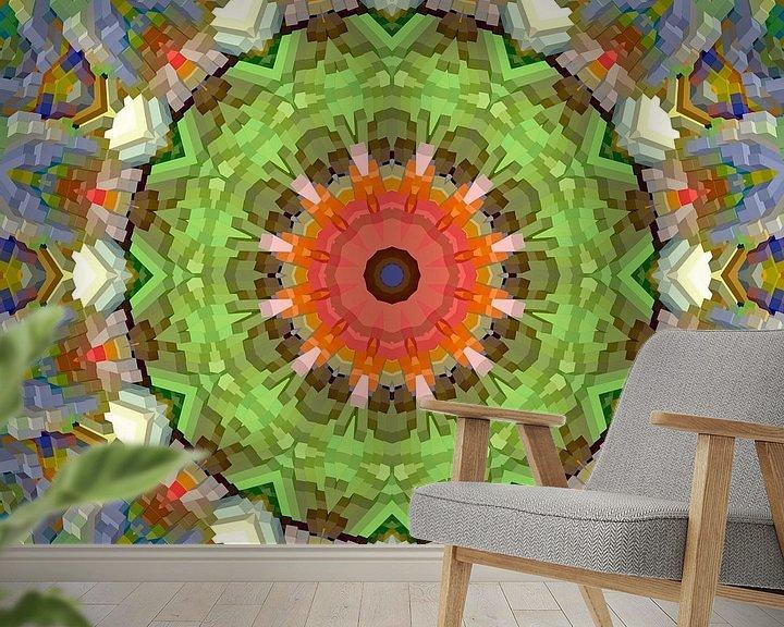 Sfeerimpressie behang: Mandala voorjaarskleuren blokken van Marion Tenbergen