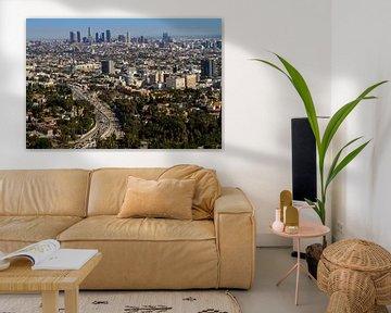 Blick auf die Innenstadt von Los Angeles von Easycopters