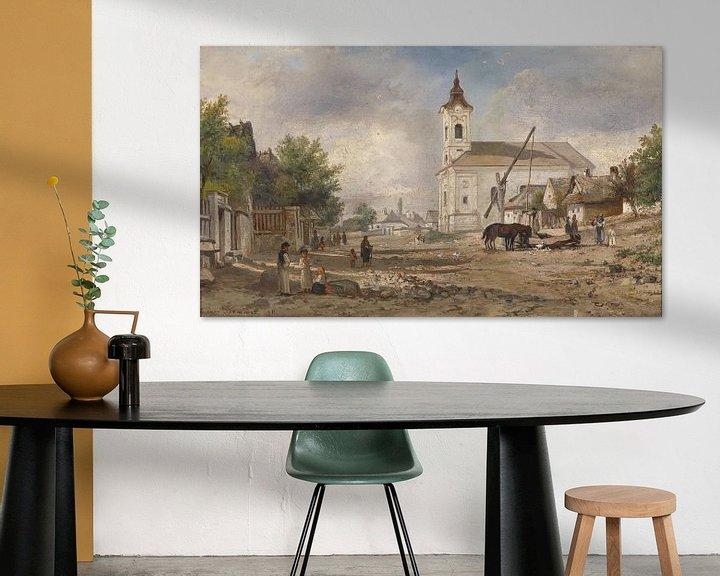 Beispiel: Ein Kirchvorplatz mit Brunnen, Elias Pieter van Bommel.