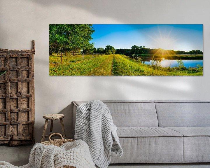 Sfeerimpressie: Zonsondergang bij de Hase in Emsland van Günter Albers