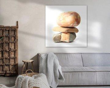 Pebbles drieluik # 3-4 omne trium perfectum van Wim Zoeteman
