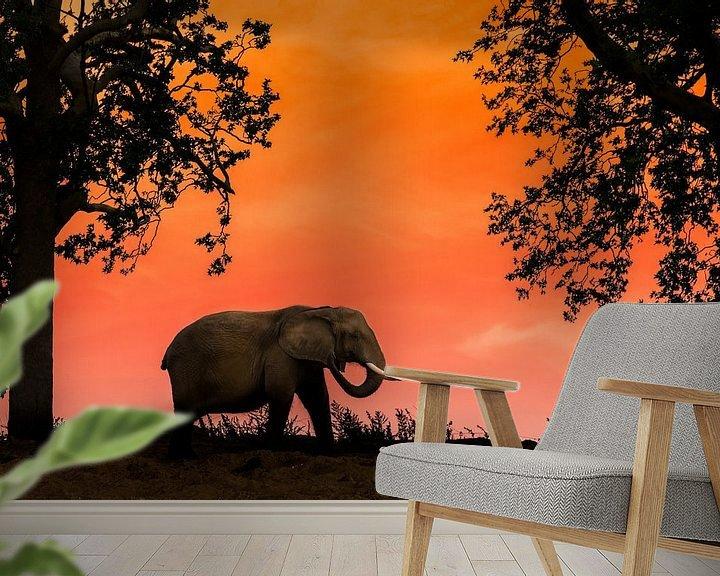 Sfeerimpressie behang: Afrikaanse olifant bij zonsondergang van Stefan Zwijsen
