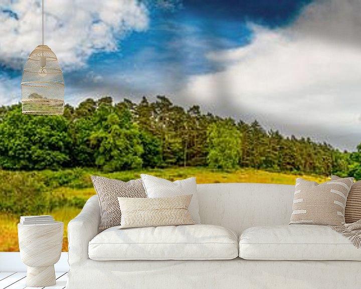 Sfeerimpressie behang: Panorama van een landschap met wilde weiden en bossen van Günter Albers