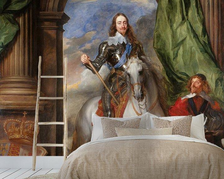 Beispiel fototapete: Porträt Karl I., König von England, zu Pferd mit seinem Stallmeister St. Antoine, Anthony van Dyck